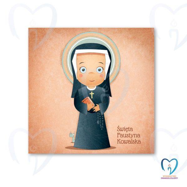 Święta Faustyna plakat ilustracja dla dzieci