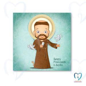 Święty Franciszek plakat ilustracja dla dzieci